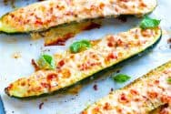 Cheesy Roasted Red Pepper Stuffed Zucchini Recipe