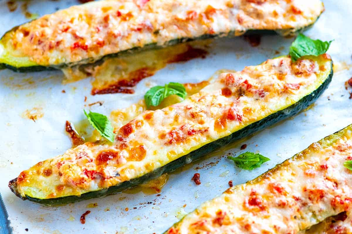 Cheesy Roasted Red Pepper Stuffed Zucchini