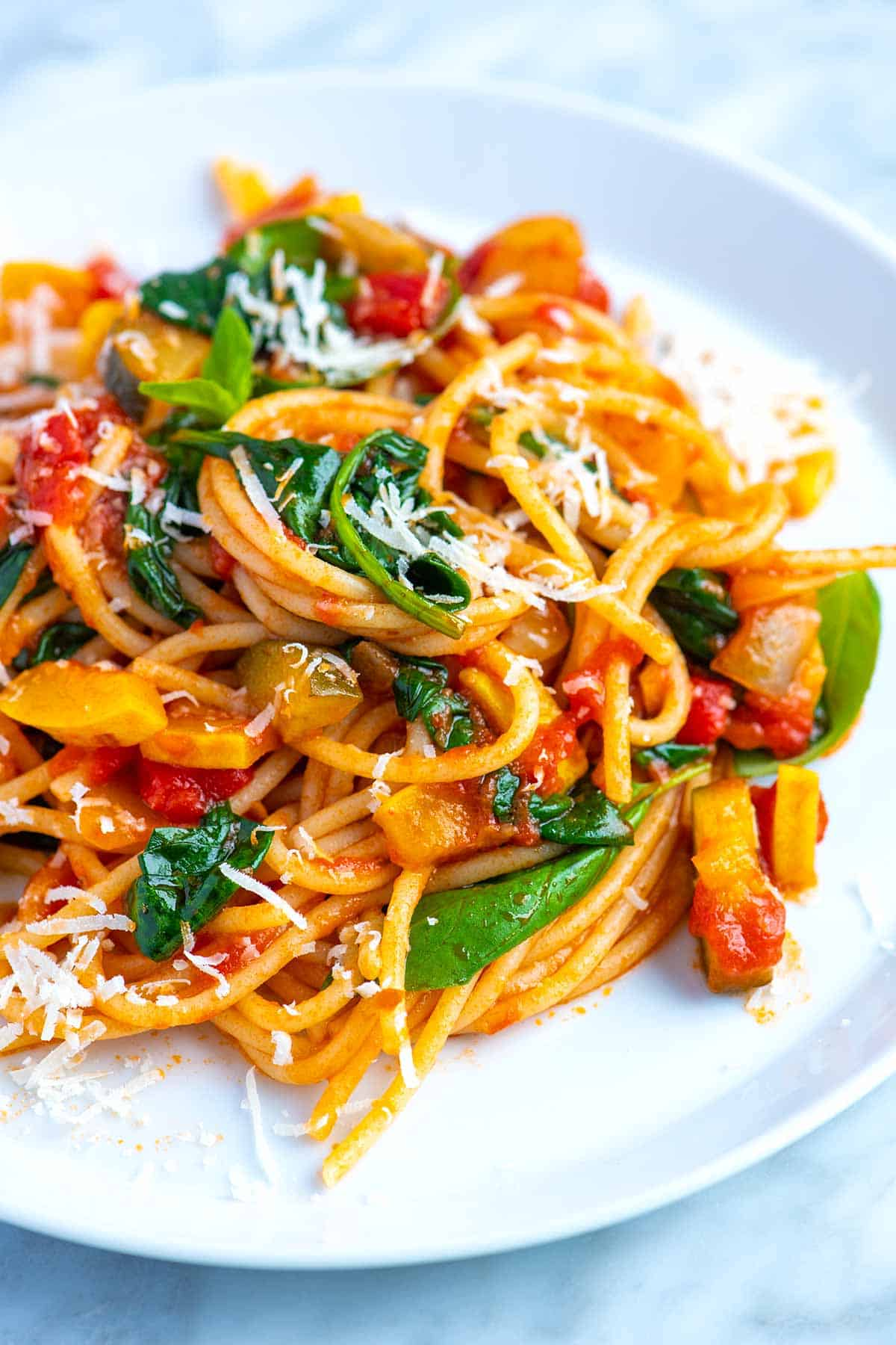 Think of this as a versatile vegetarian pasta recipe that works wonders with a variety of vegetables so you can use whatever you have in the fridge.