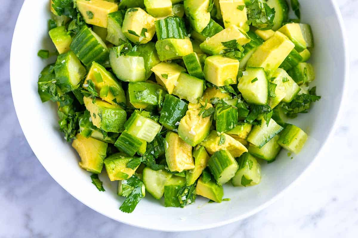 Very Best Avocado Salad // I could eat this avocado salad with crunchy cucumbers every day. The salad could not be simpler to make and can be enjoyed all by itself, as a side, as a chunky salsa or spooned on top of larger salads.
