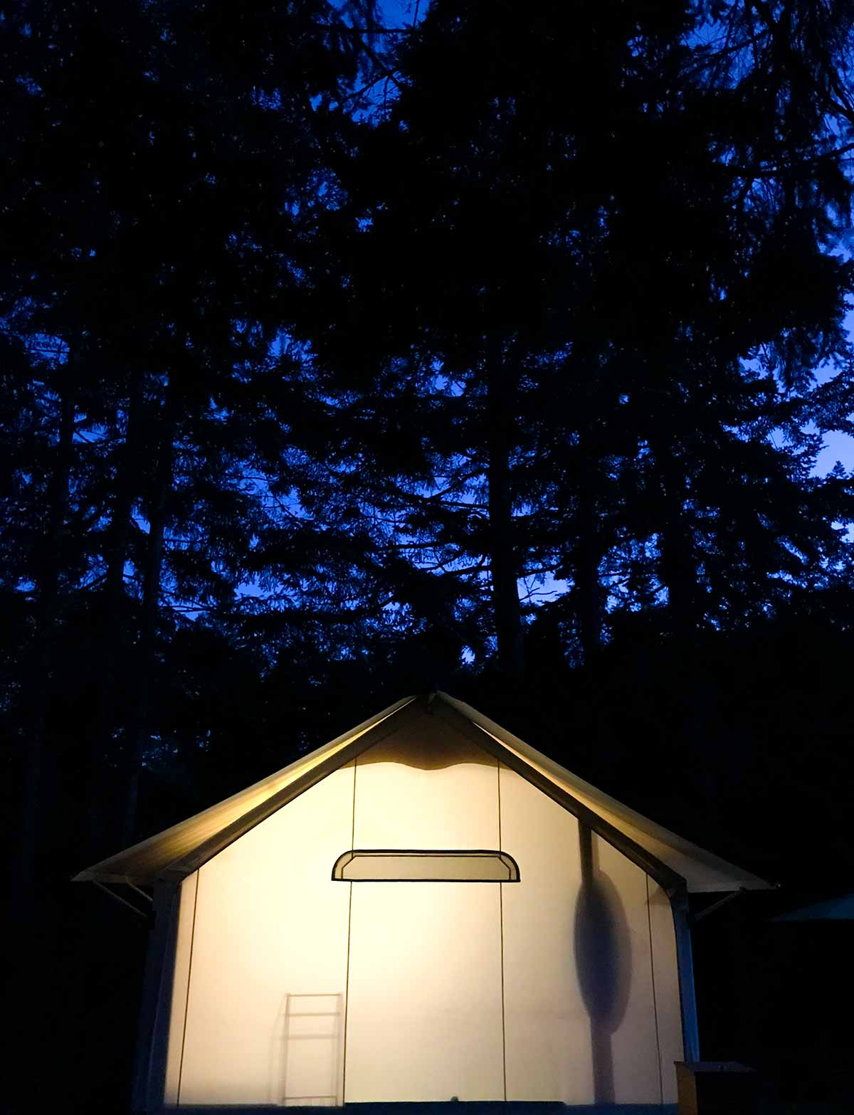 Lakedale Canvas Tent at Night