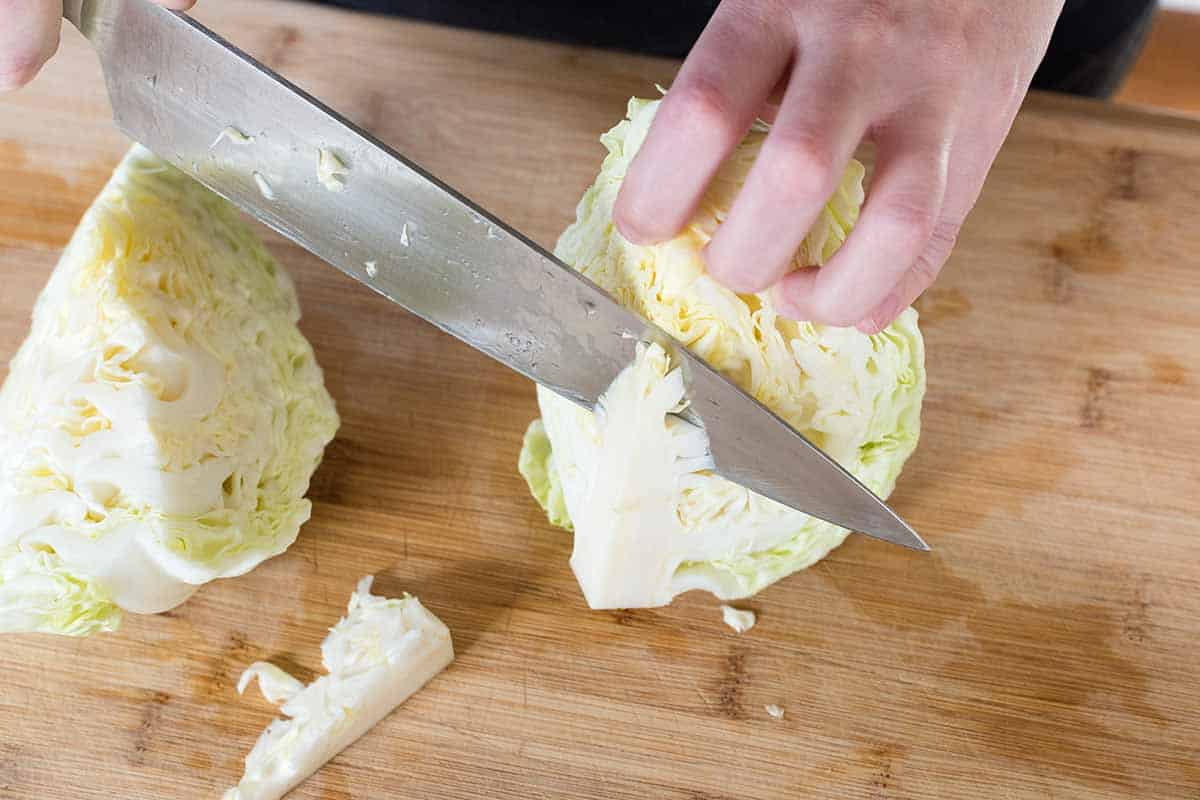Cutting cabbage for coleslaw
