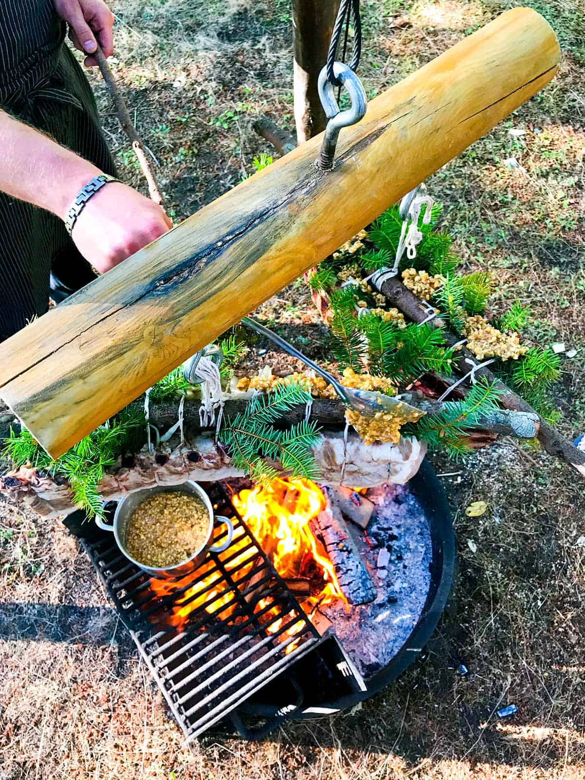 Lakedale's Gourmet Glamping Series, Chef Wieczorek working on his previously sous vide pork being finished over an open fire with a glaze of hazelnut and Douglas Fir honey