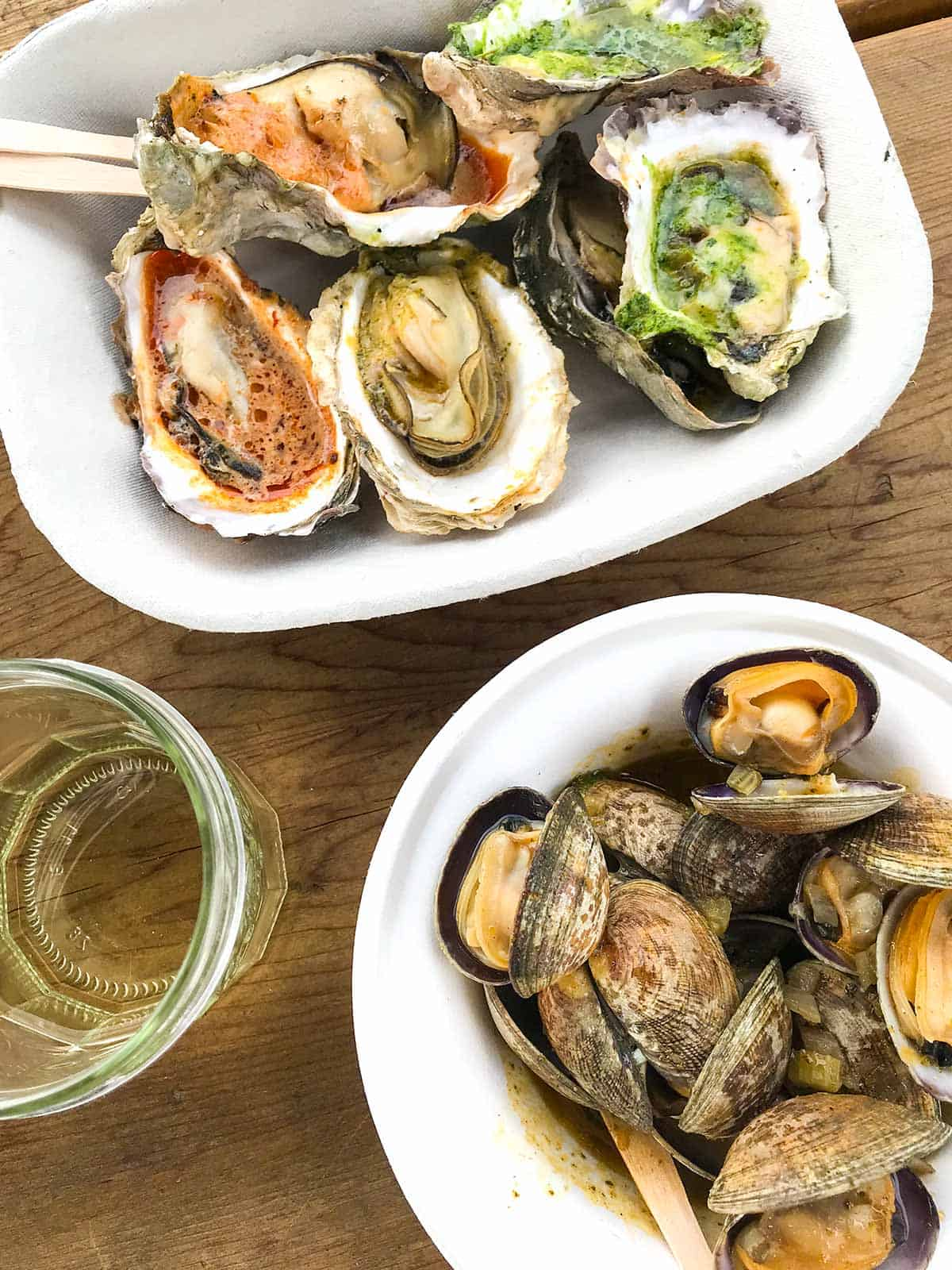 Grilled Oysters and Steamed Clams from Westcott Bay Shelfish