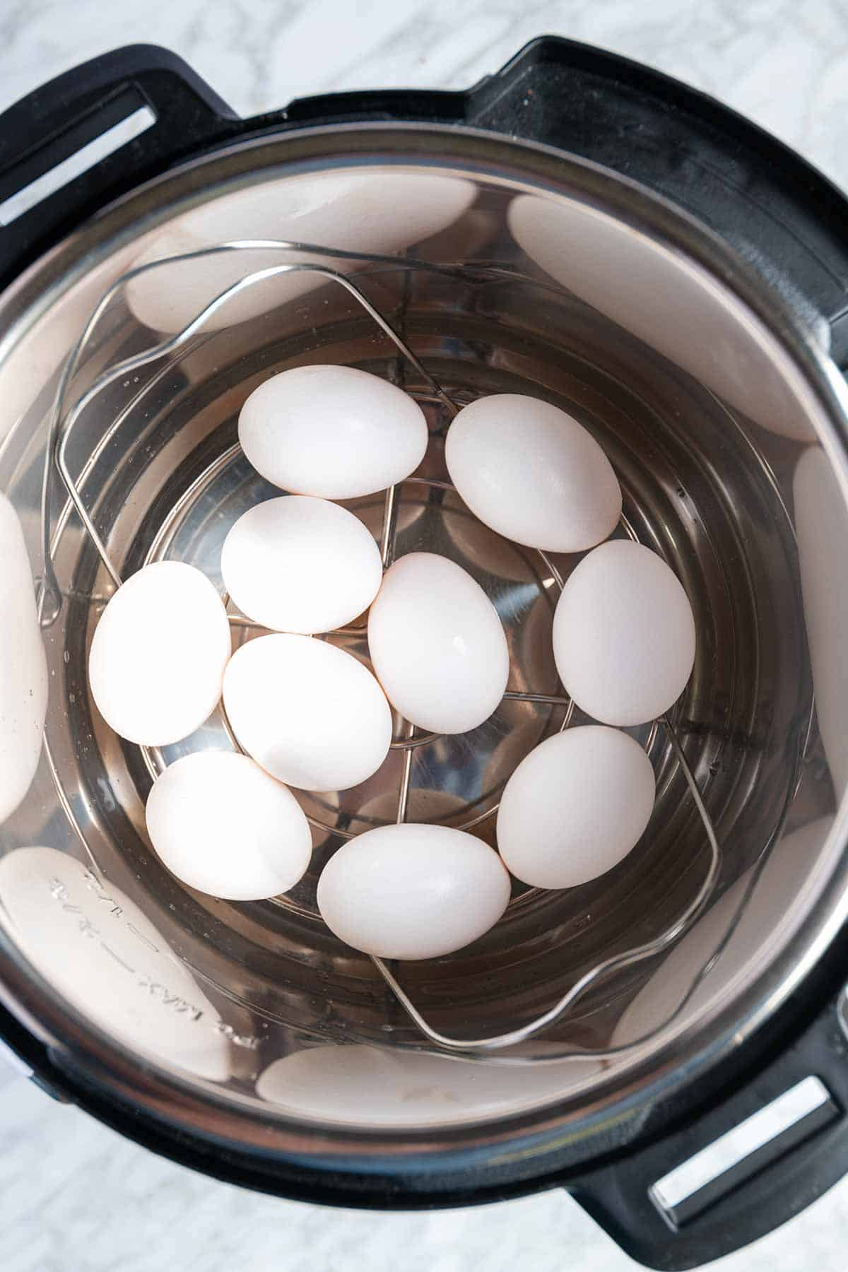 Instant Pot Hard and Soft Boiled Eggs -- Use the metal trivet that came with the pressure cooker.