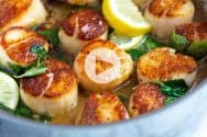 Seared Scallops in Garlic Basil Butter Recipe Video