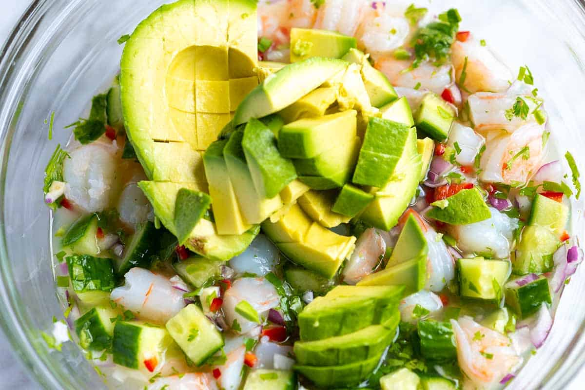 How to Make Shrimp Ceviche, Add avocado just before serving.