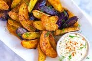 Roasted Fingerling Potatoes Recipe with Craveable Dipping Sauce