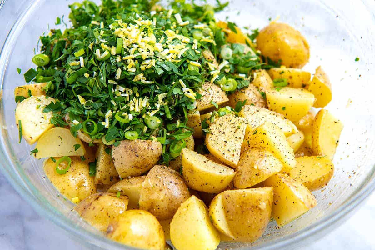 Potato Salad Recipe Step by Step -- Toss with lots of fresh herbs