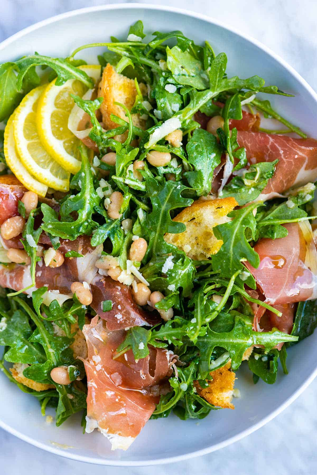 White Bean Salad Recipe with Prosciutto and Arugula