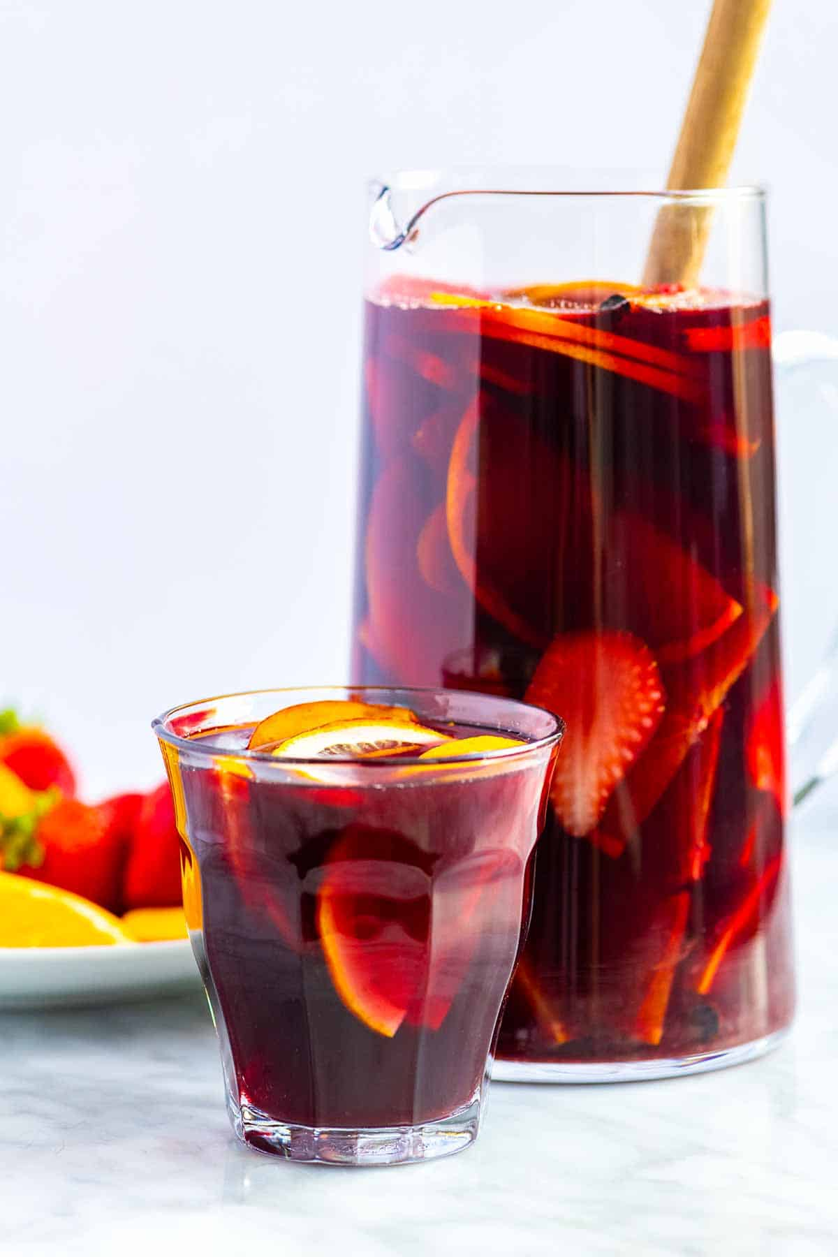 A pitcher of red sangria