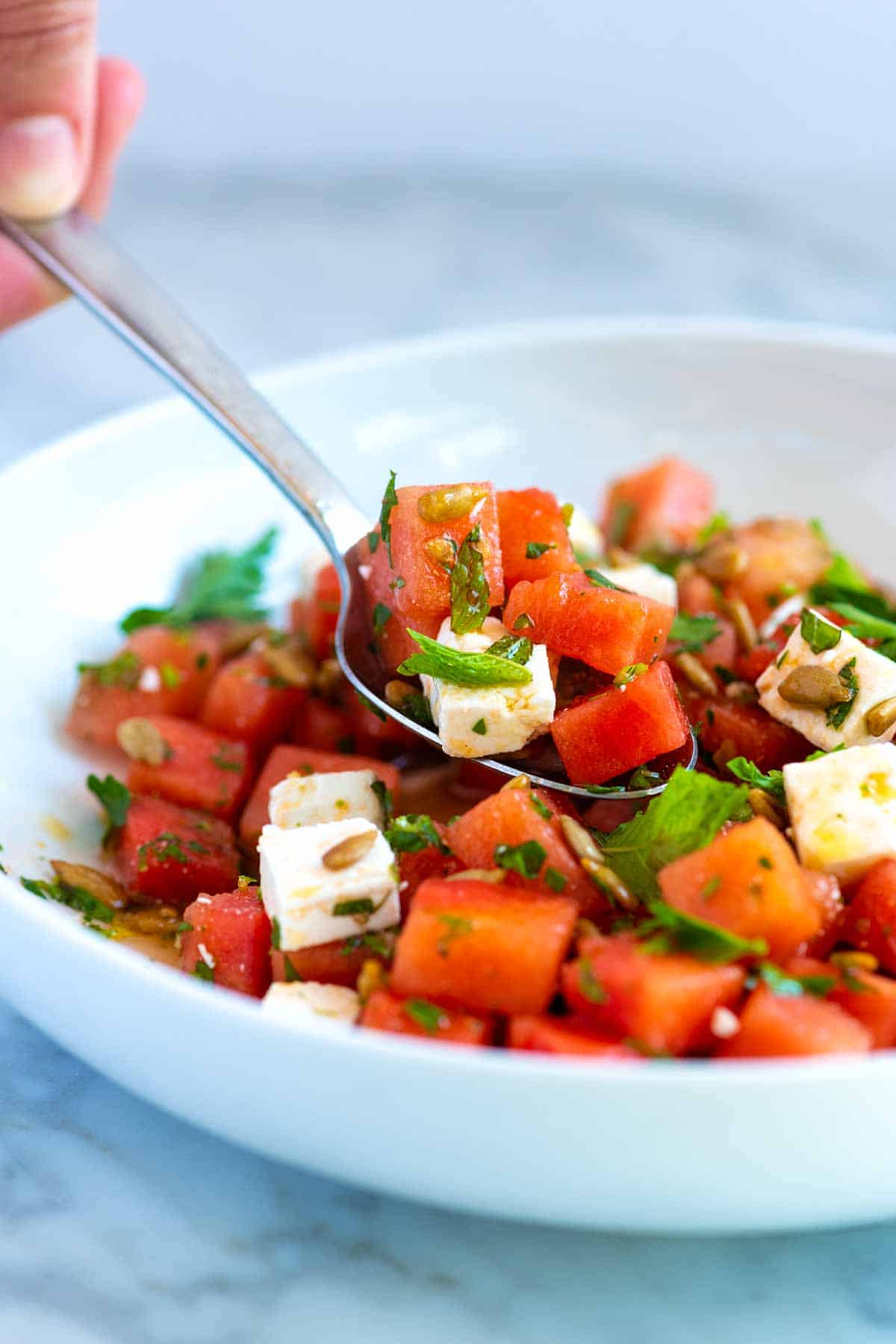 Our Favorite Watermelon Salad Recipe with feta cheese, sunflower seeds, and fresh herbs.