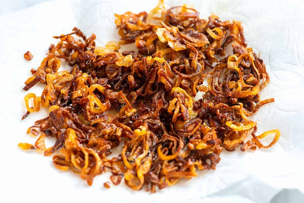 How to Make Crisp Fried Shallots -- Draining on paper towels