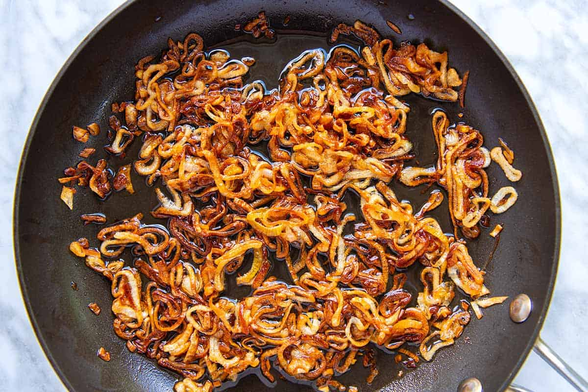 How to Make Crisp Fried Shallots -- cooking in a skillet with oil