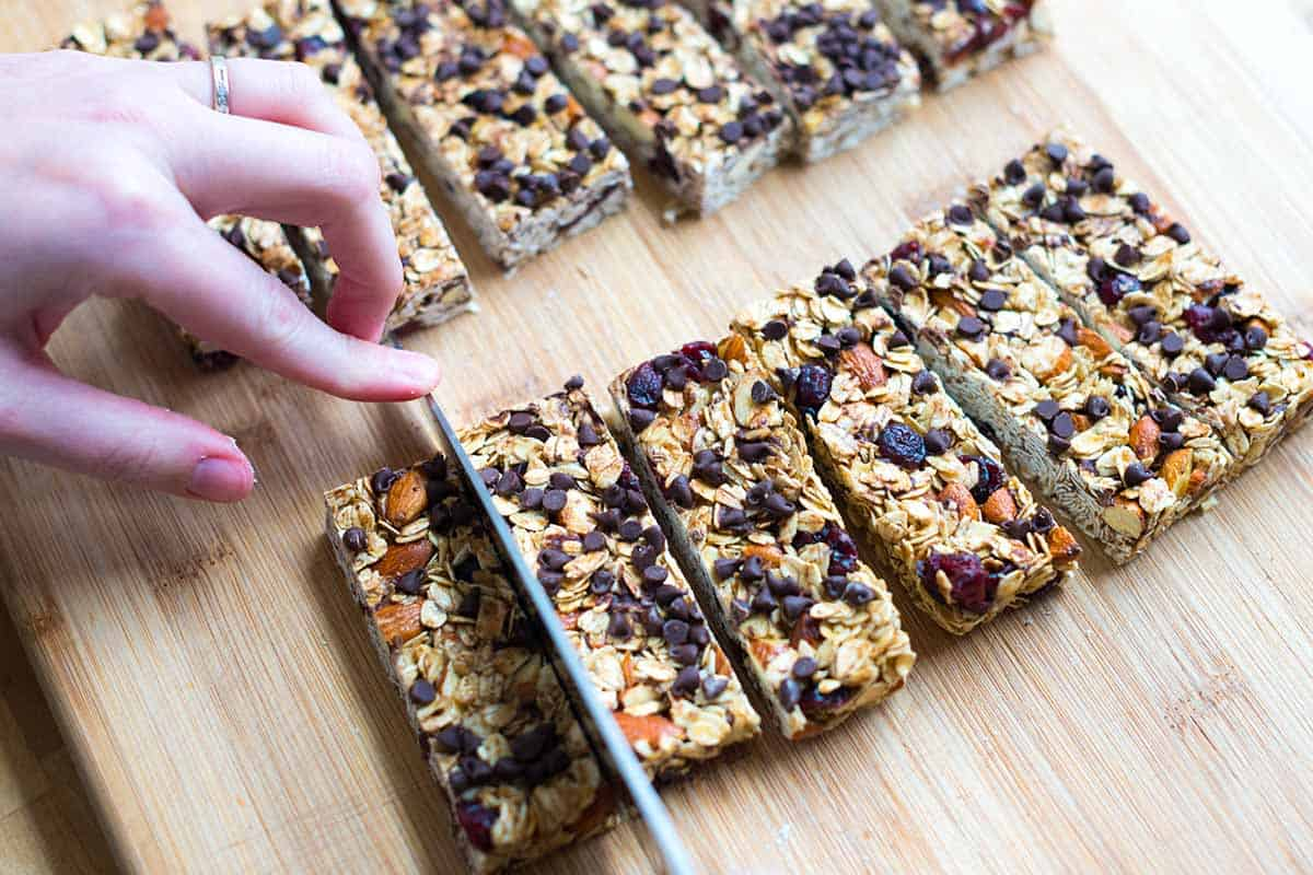 Cutting homemade granola bars.