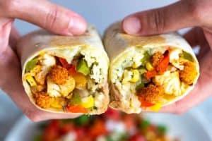 Spicy Roasted Cauliflower Veggie Burritos Recipe