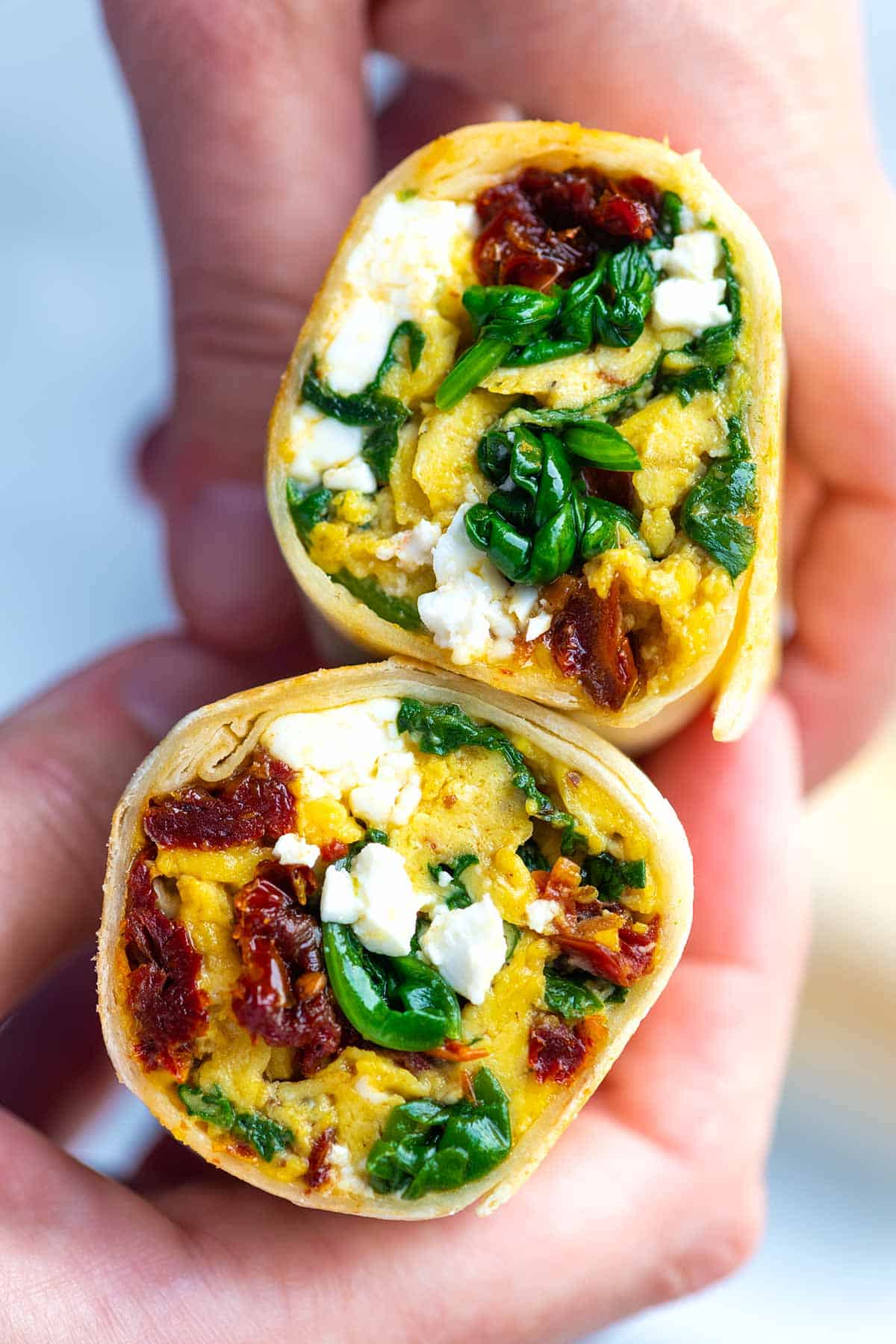 15 Minute Breakfast Burritos with Spinach and Feta