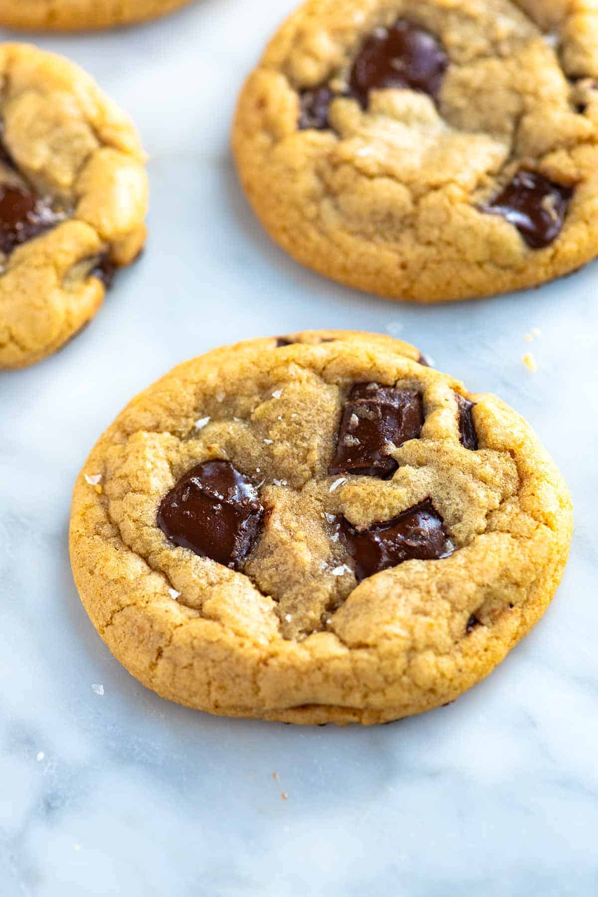Melted butter is the secret to making quick and easy chocolate chip cookies! These cookies are soft in the center, chewy around the middle, and a little crispy around the edges.