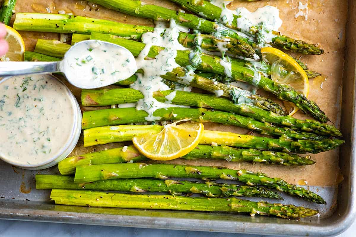 This roasted asparagus recipe is a simple, fast side dish. The asparagus is perfectly tender with slightly crispy tips.