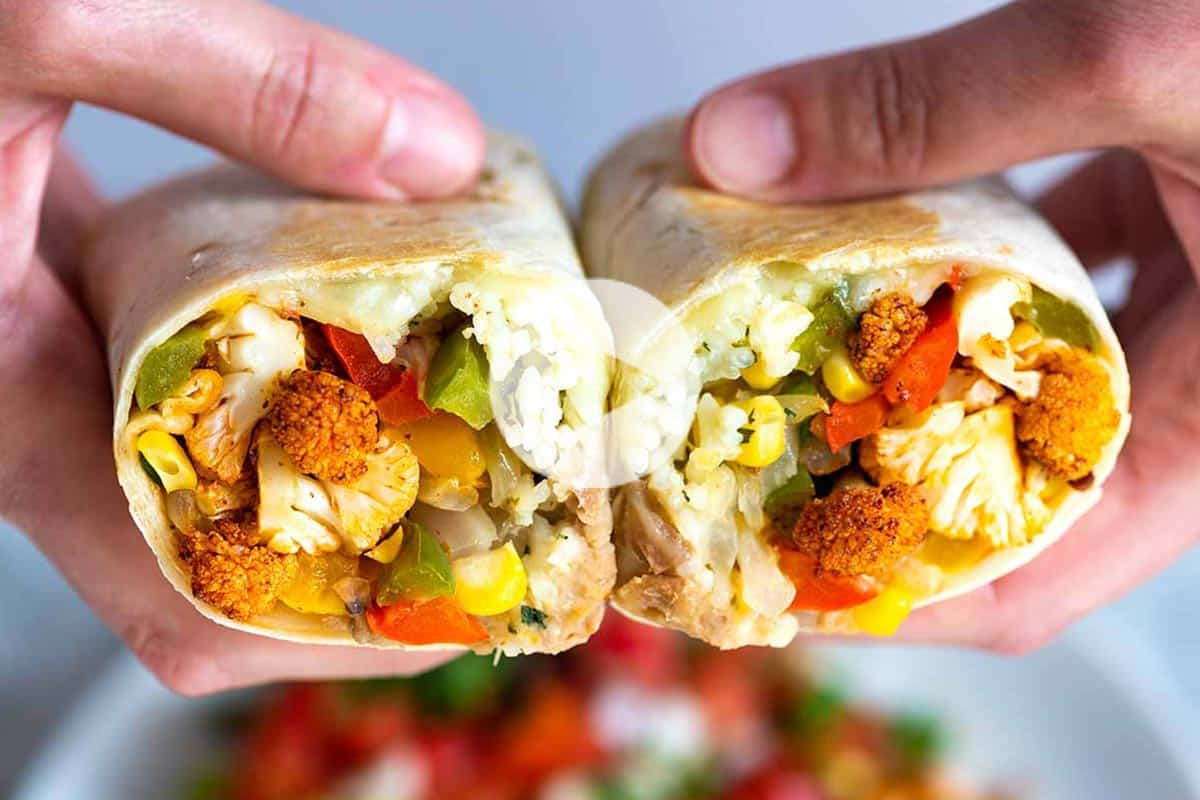 Spicy Roasted Cauliflower Veggie Burritos