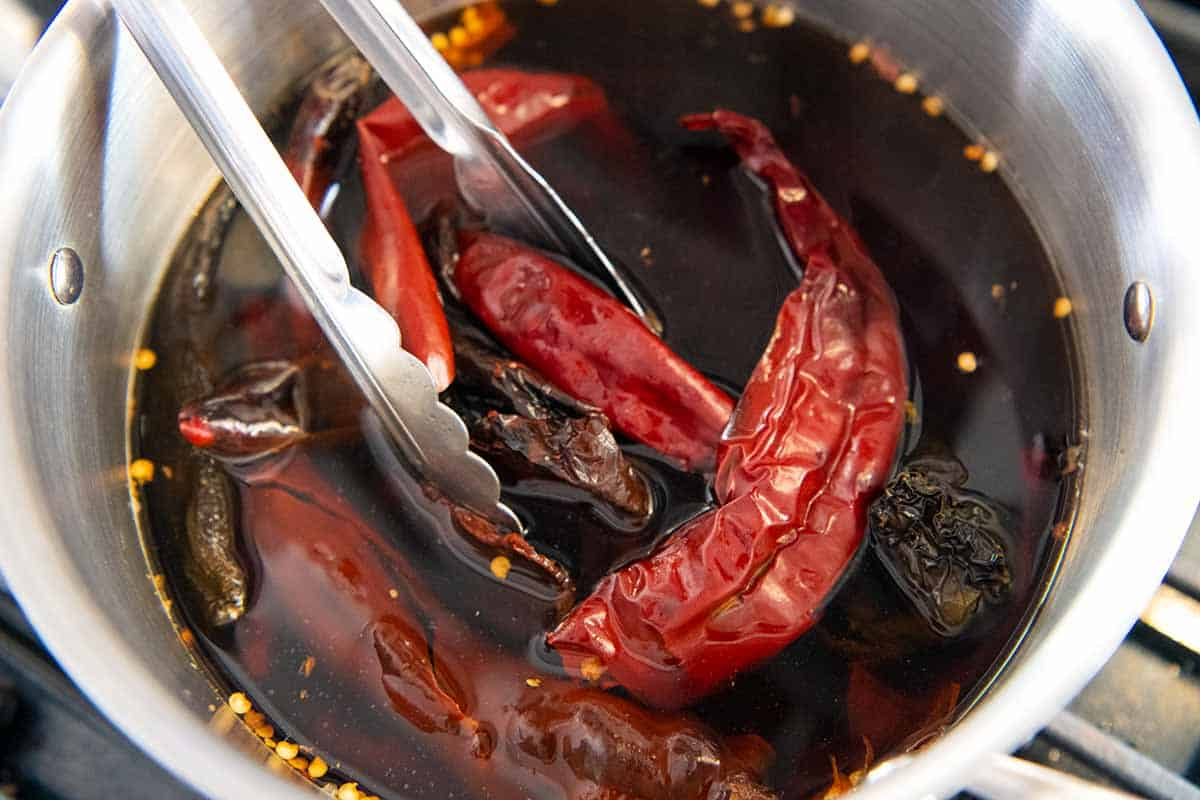 Rehydrating chili peppers for enchilada sauce