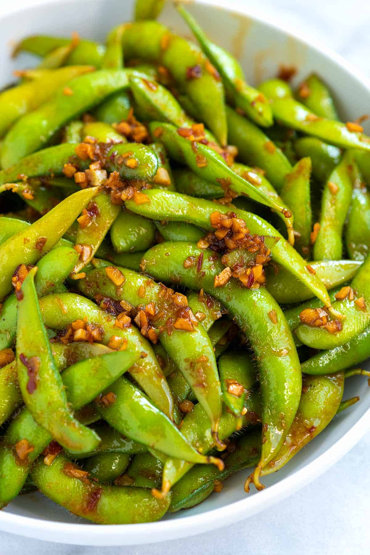 Edamame pods with chili garlic sauce