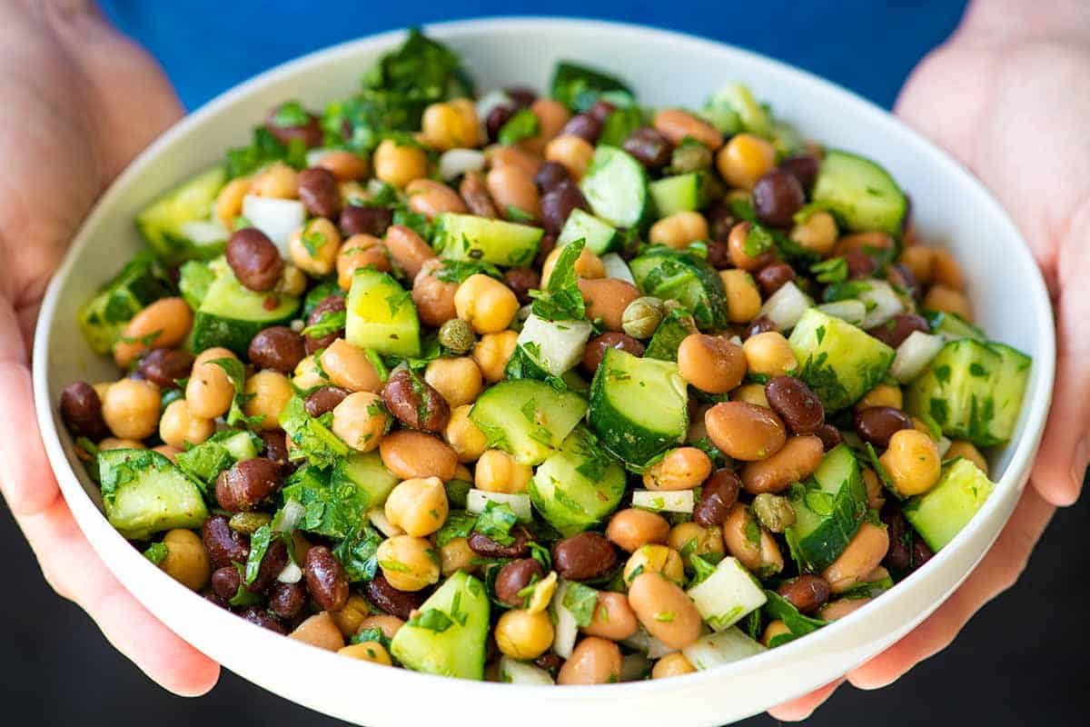 Bean Salad with Cucumbers, Parsley, and Onion