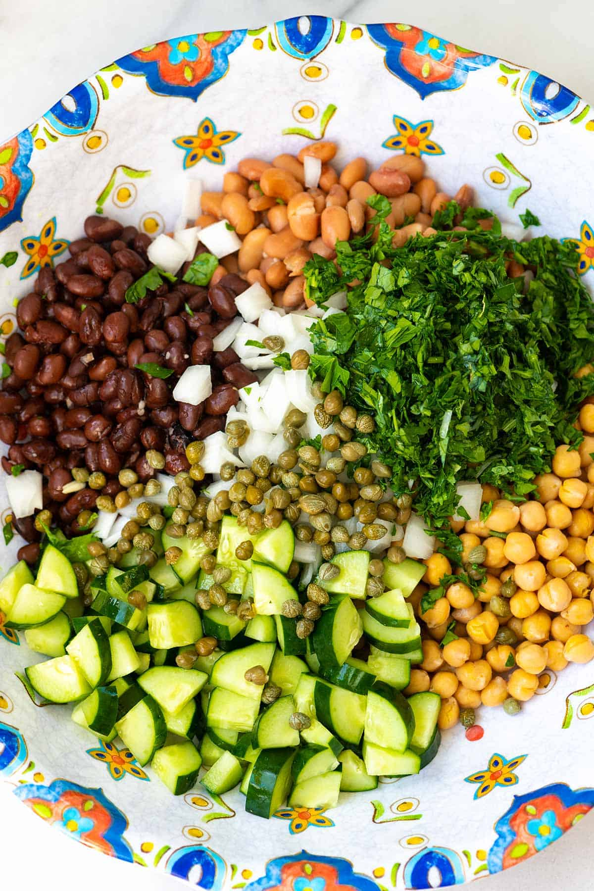 Ingredients for bean salad (beans, onion, cucumbers and parsley)