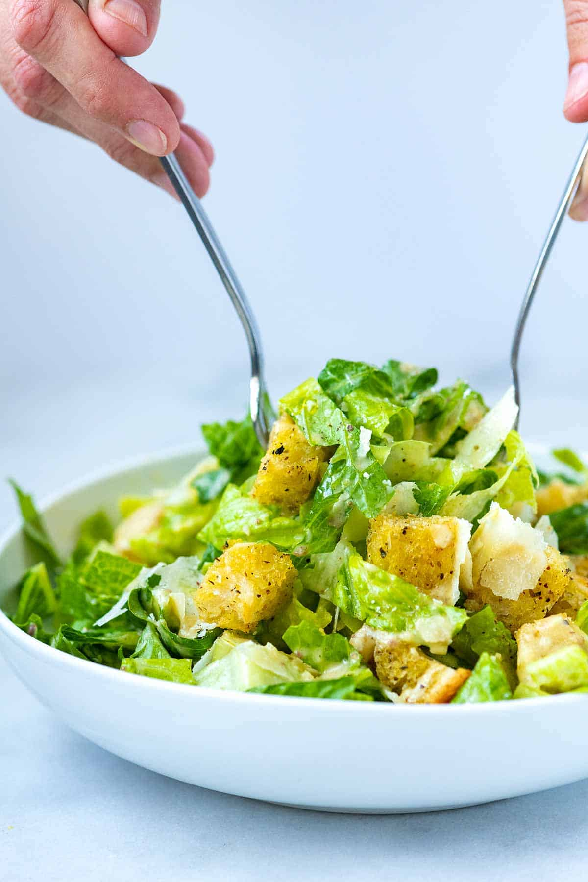 Caesar Salad with dressing and croutons made from scratch