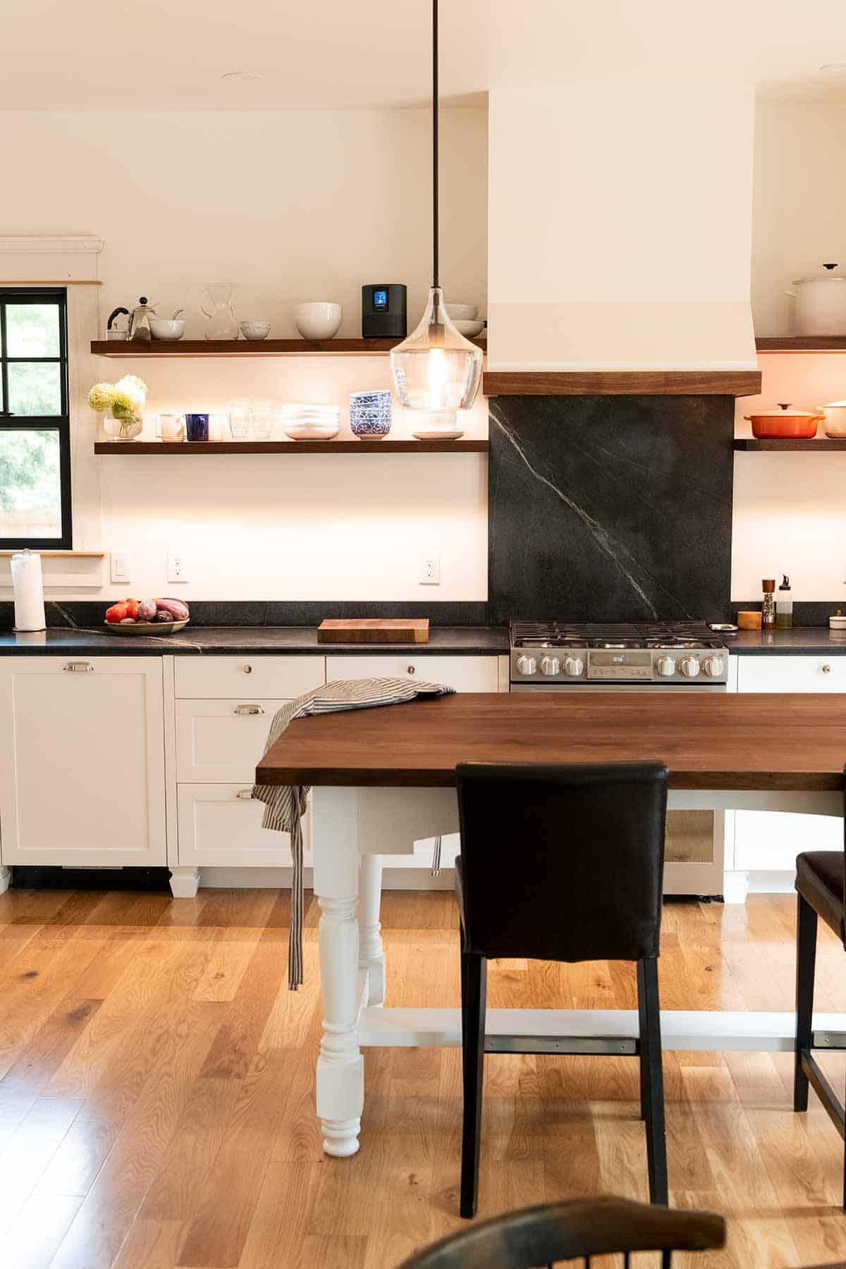 Remodeled kitchen with floating shelves