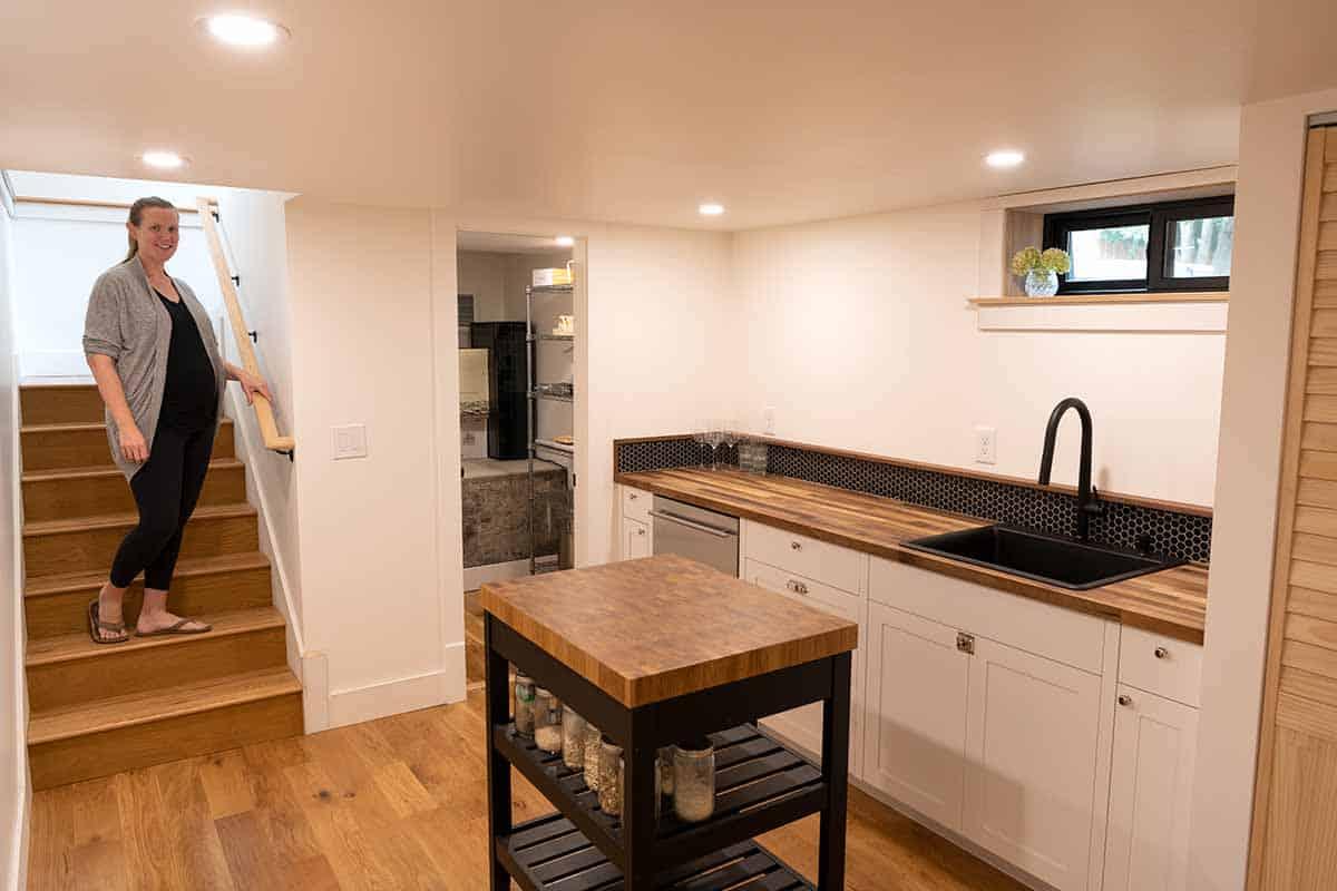 Remodeled kitchenette with wine fridge