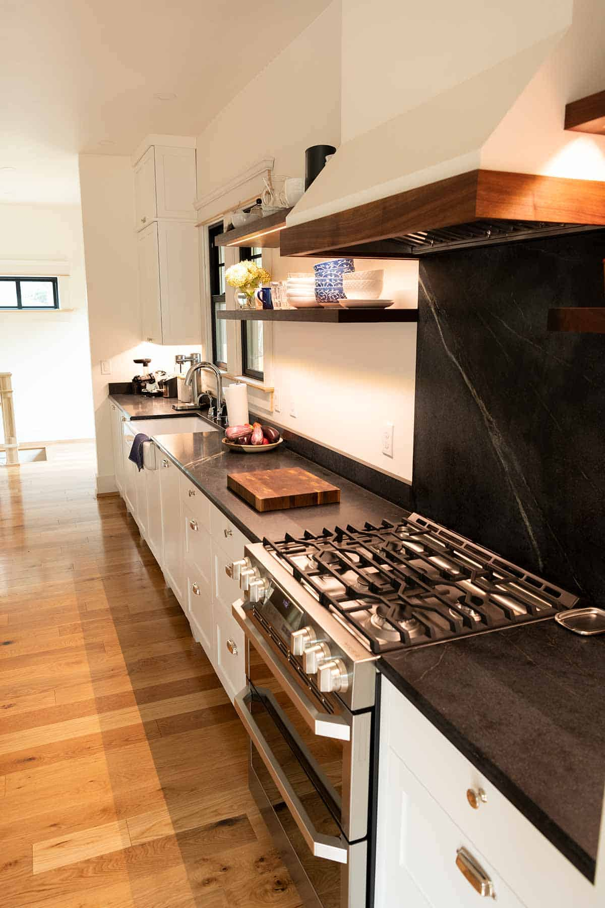 Remodeled kitchen with soapstone countertops