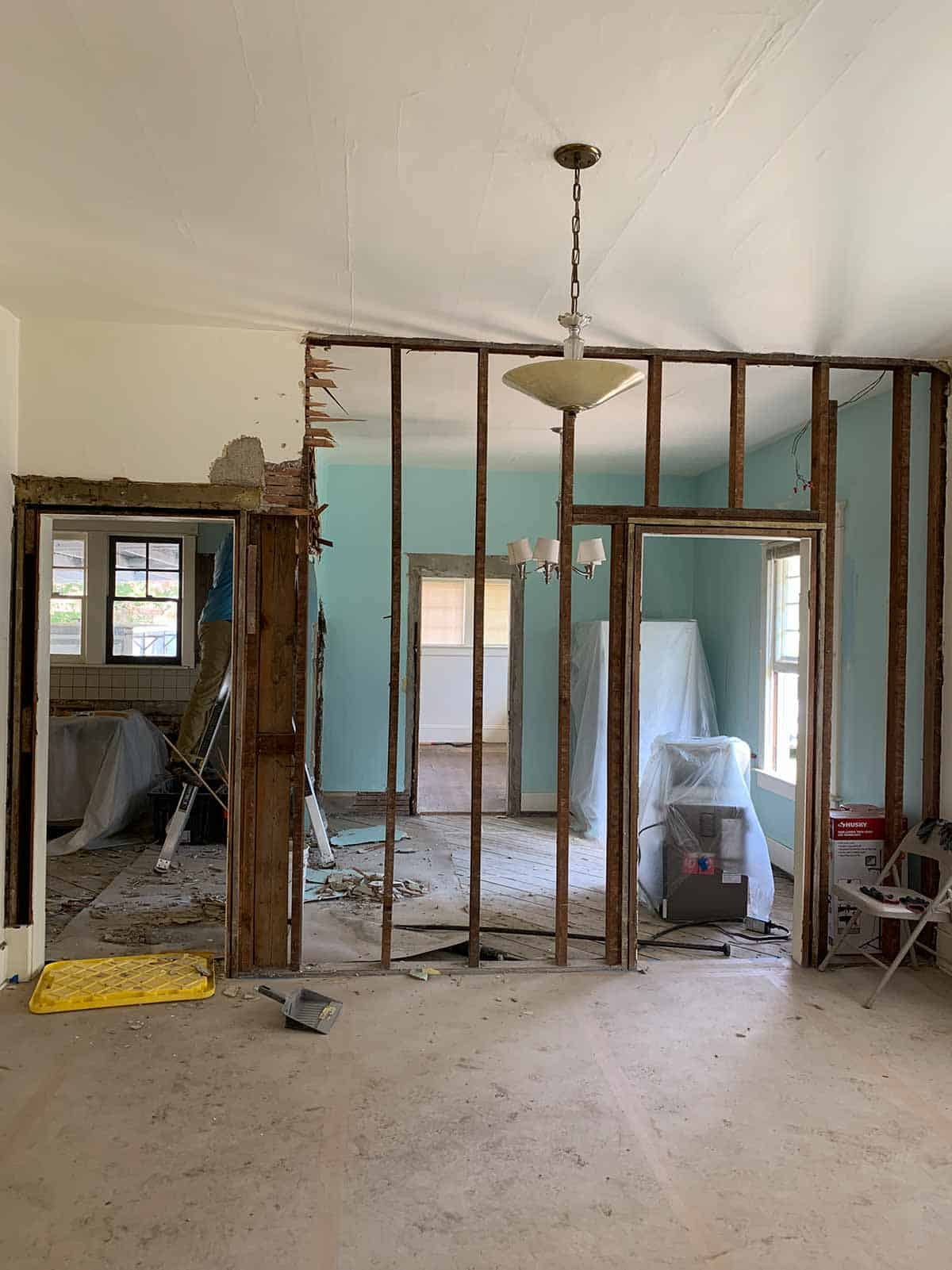 Demoing another wall in the kitchen