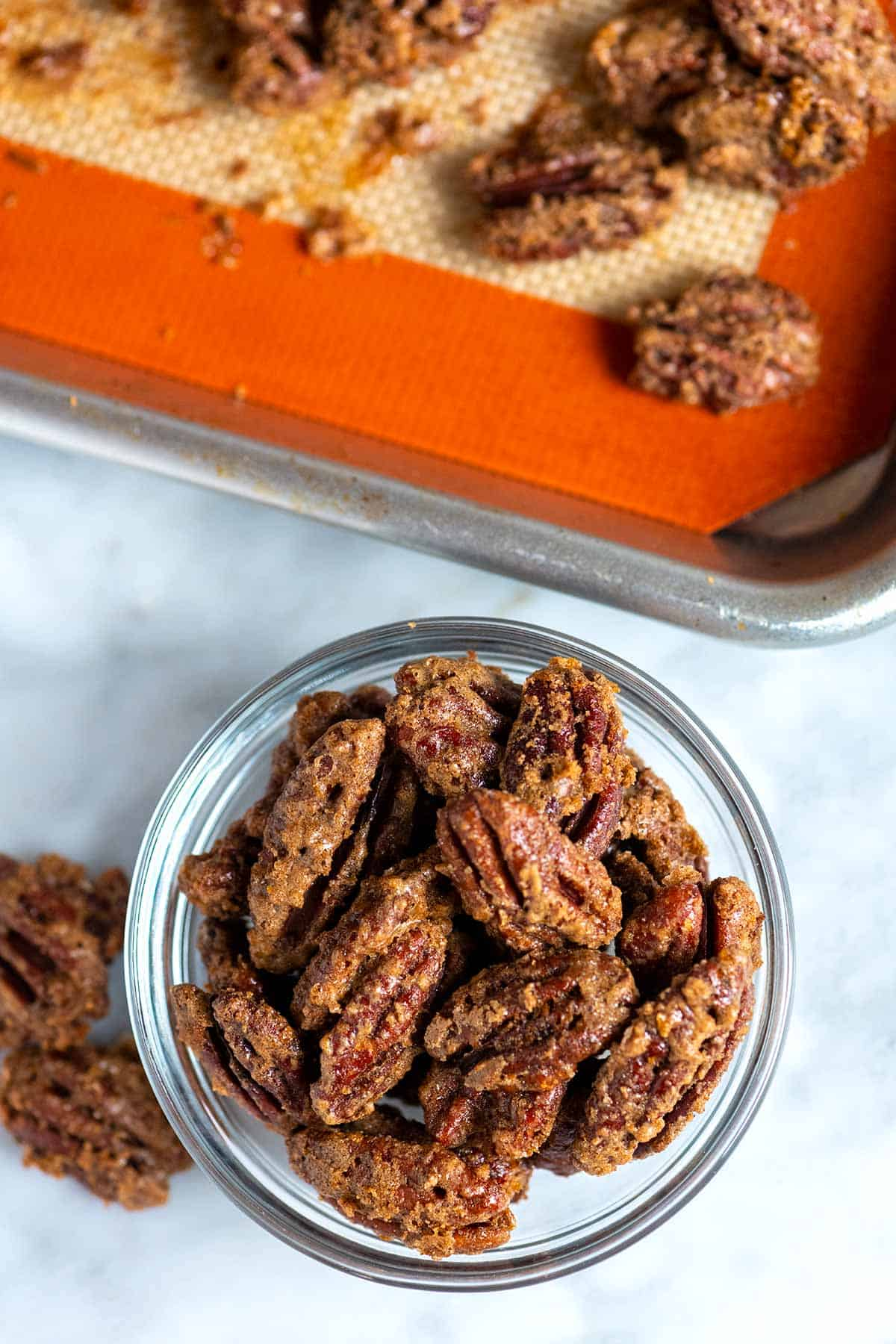 Oven baked candied pecans