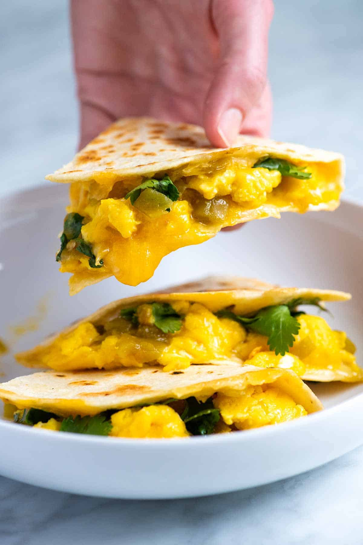 Breakfast Quesadillas with scrambled eggs and cheese.
