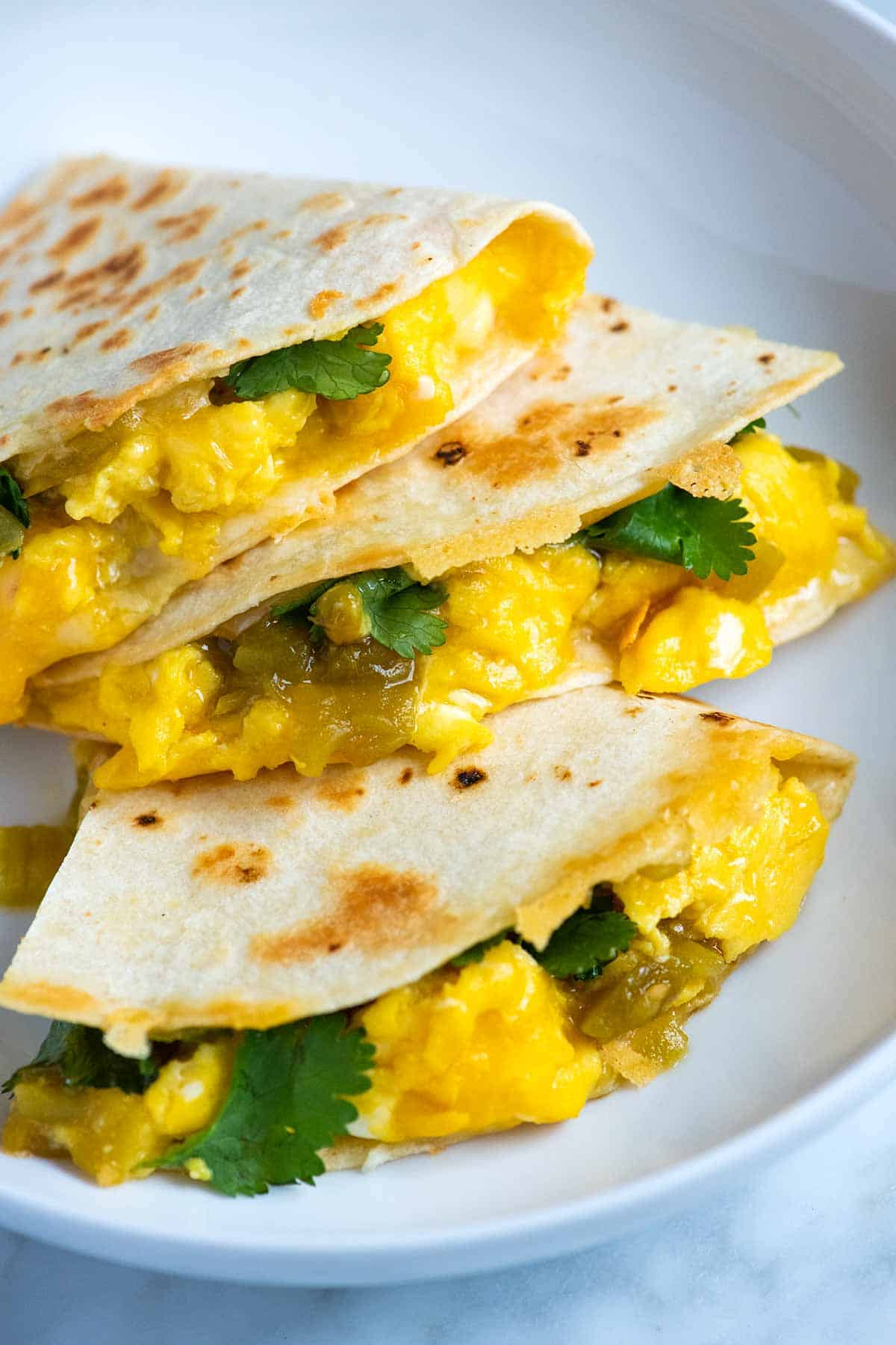 Breakfast Quesadillas with eggs, chilies and cheese