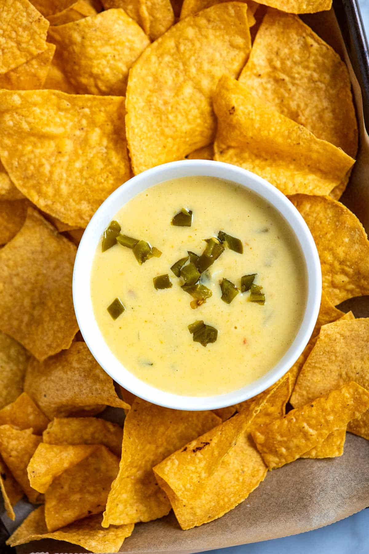 Homemade queso dip with tortilla chips