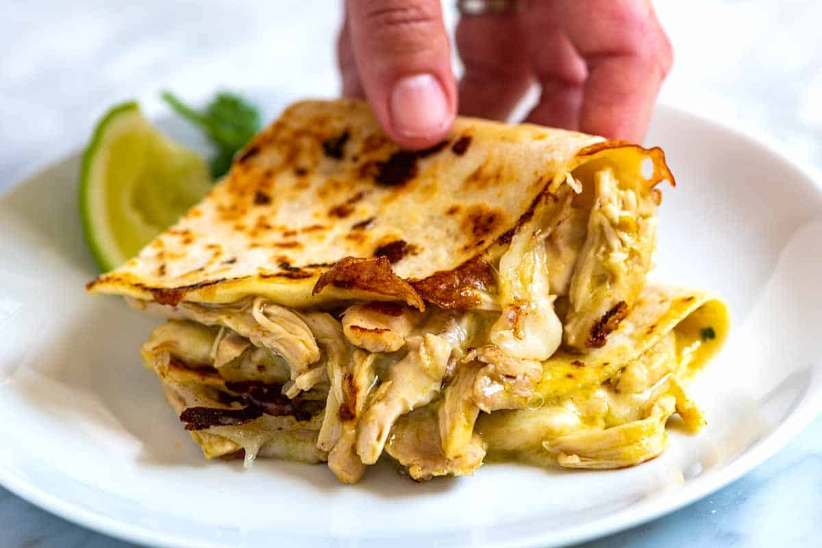 A plate with chicken quesadillas