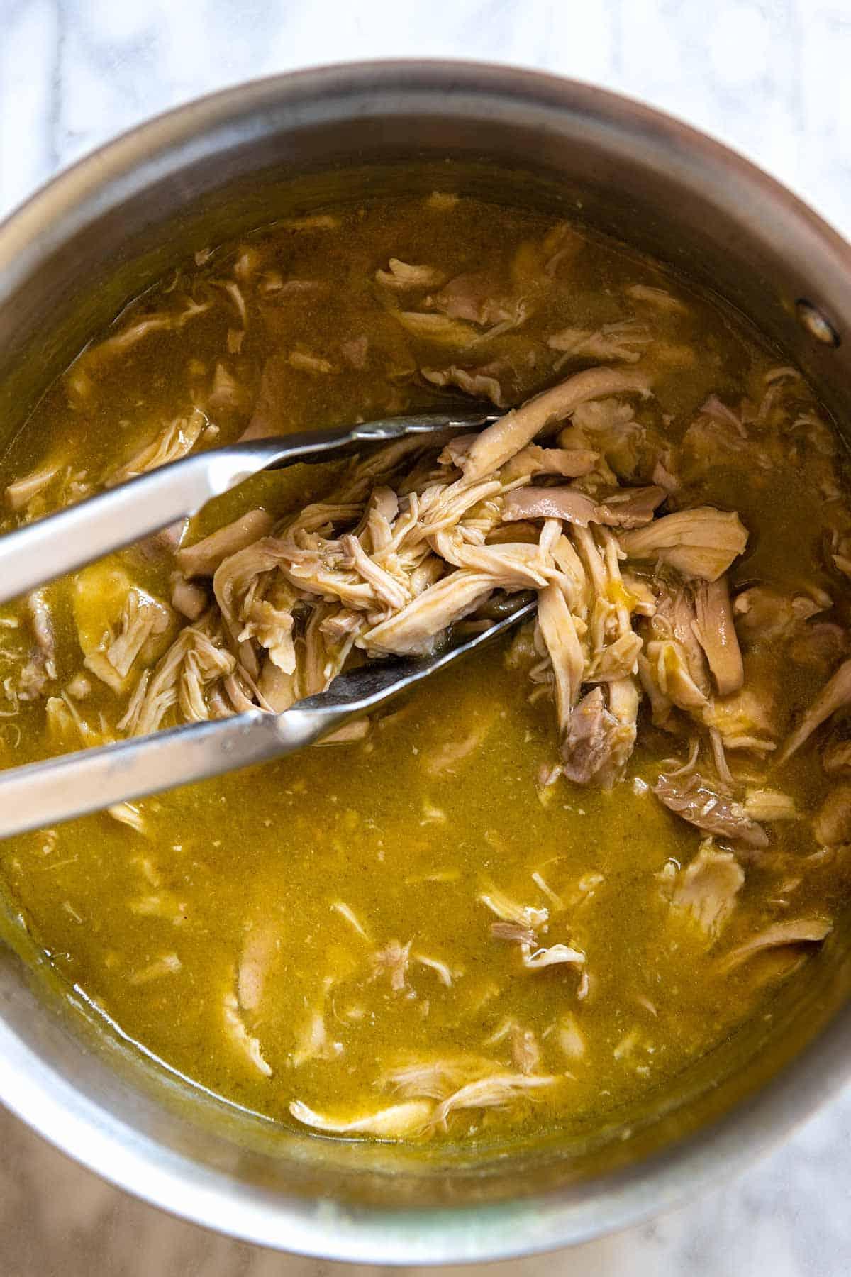 Shredded Green Chile Chicken ready for quesadillas