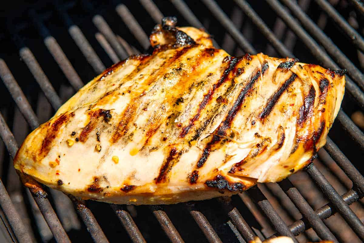 Chicken breast grilled on a barbecue